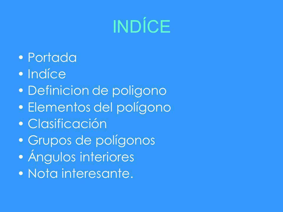 INDÍCE Portada Indíce Definicion de poligono Elementos del polígono