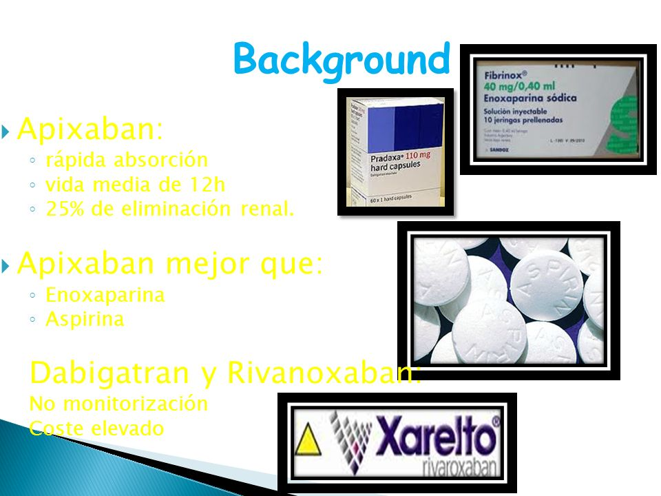 Background Apixaban: Apixaban mejor que: Dabigatran y Rivanoxaban: