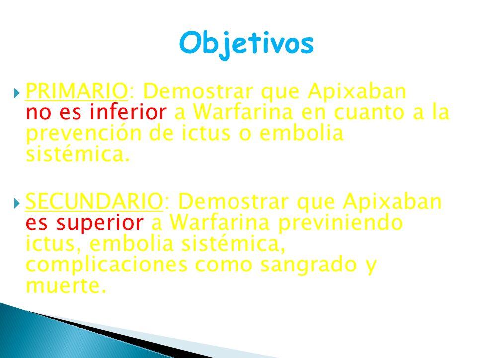 Objetivos PRIMARIO: Demostrar que Apixaban no es inferior a Warfarina en cuanto a la prevención de ictus o embolia sistémica.