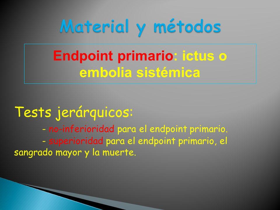 Endpoint primario: ictus o embolia sistémica