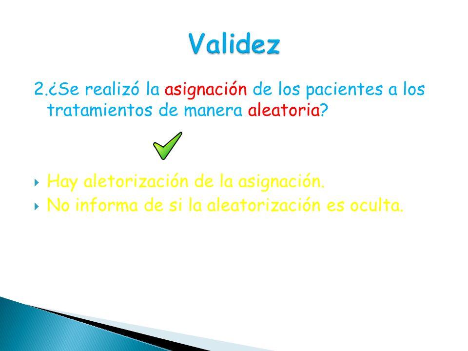 Validez 2.¿Se realizó la asignación de los pacientes a los tratamientos de manera aleatoria Hay aletorización de la asignación.