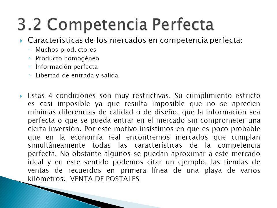 3.2 Competencia Perfecta Características de los mercados en competencia perfecta: Muchos productores.