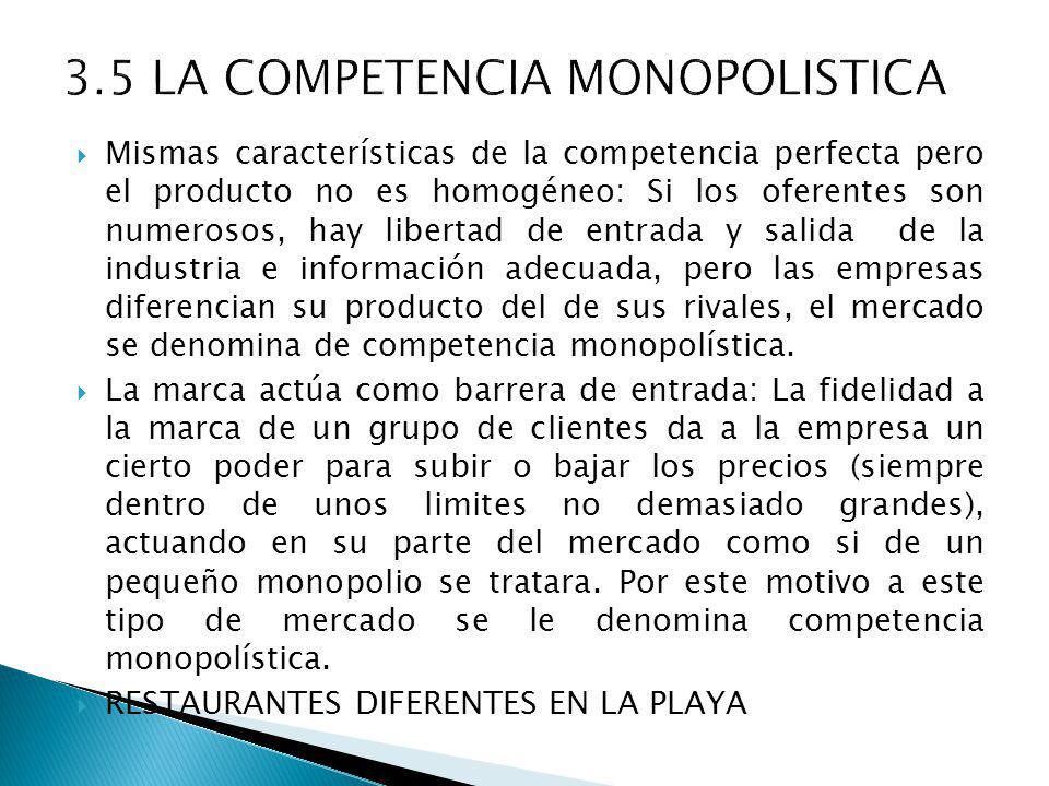 3.5 LA COMPETENCIA MONOPOLISTICA
