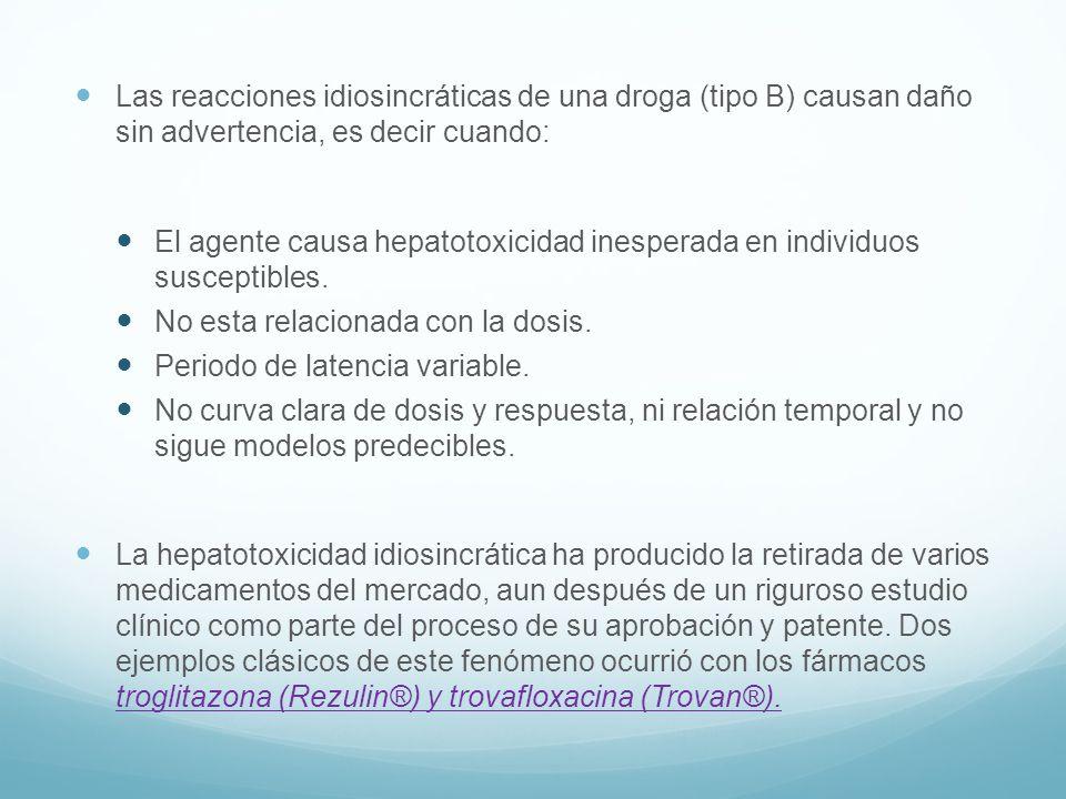 Las reacciones idiosincráticas de una droga (tipo B) causan daño sin advertencia, es decir cuando: