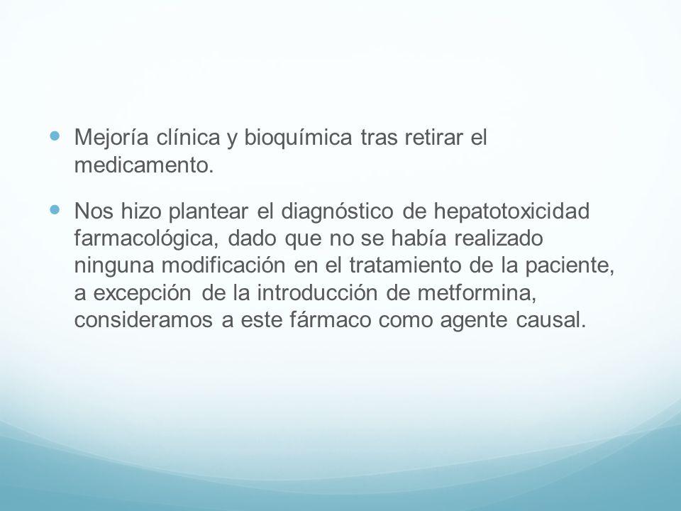 Mejoría clínica y bioquímica tras retirar el medicamento.