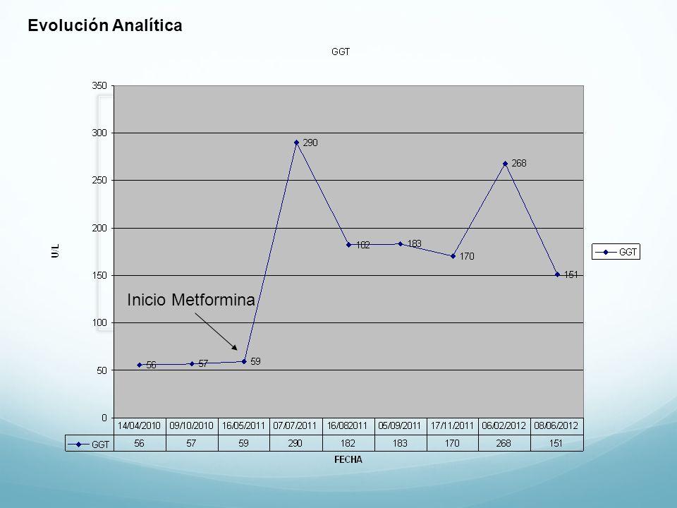 Evolución Analítica Inicio Metformina