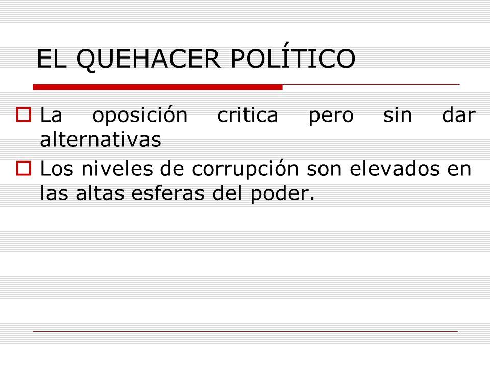 EL QUEHACER POLÍTICO La oposición critica pero sin dar alternativas