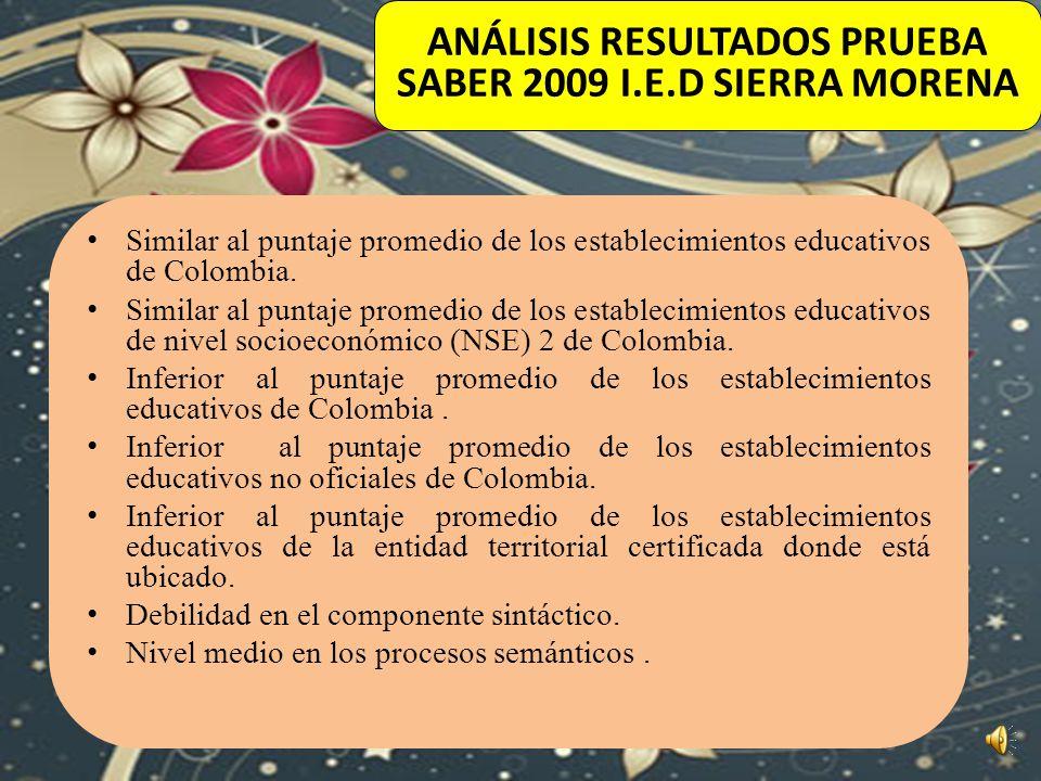 ANÁLISIS RESULTADOS PRUEBA SABER 2009 I.E.D SIERRA MORENA
