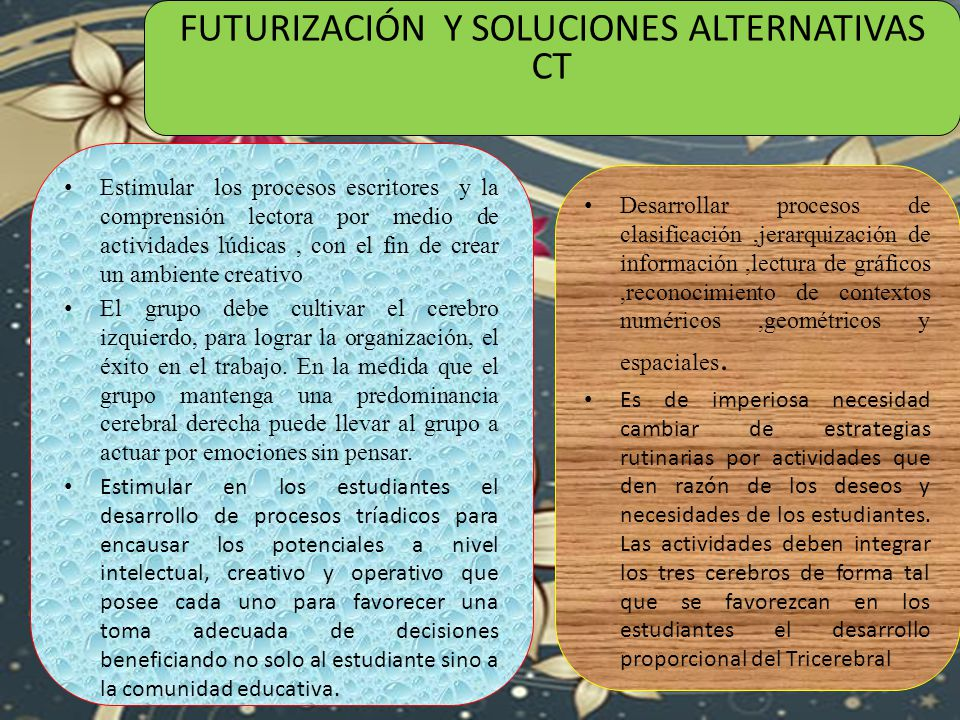 FUTURIZACIÓN Y SOLUCIONES ALTERNATIVAS CT