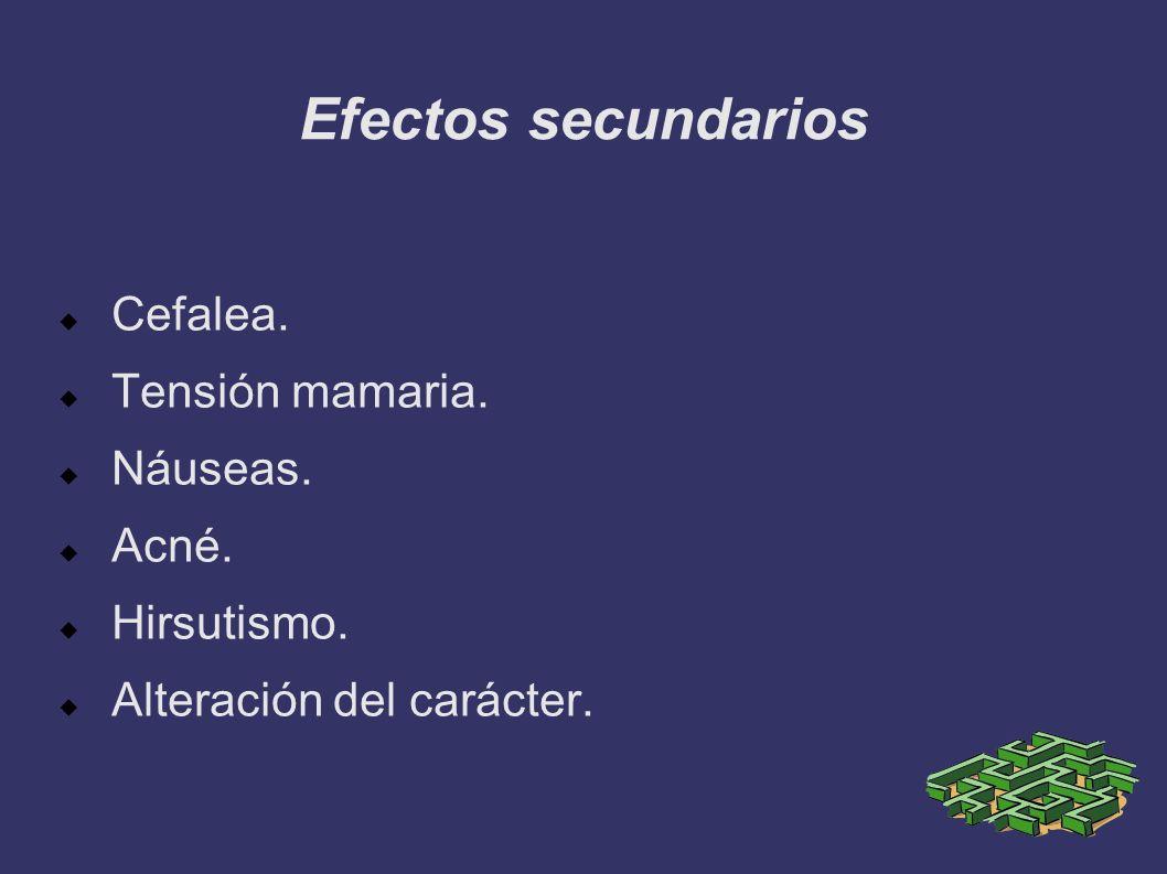 Efectos secundarios Cefalea. Tensión mamaria. Náuseas. Acné.