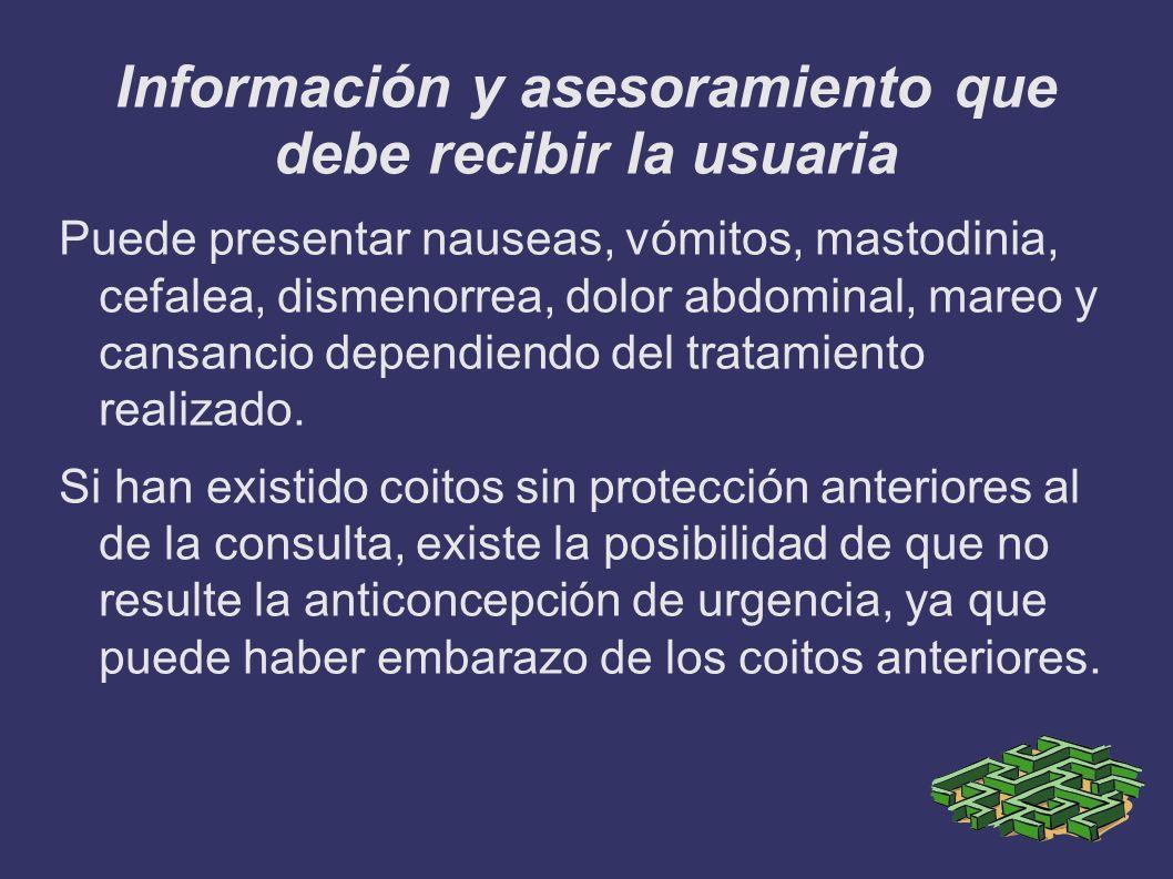 Información y asesoramiento que debe recibir la usuaria