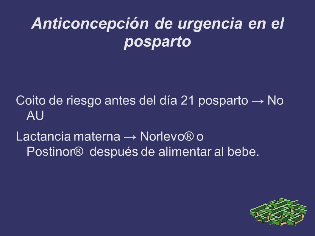 Anticoncepción de urgencia en el posparto