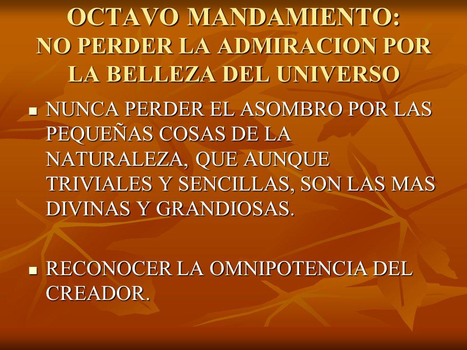 OCTAVO MANDAMIENTO: NO PERDER LA ADMIRACION POR LA BELLEZA DEL UNIVERSO