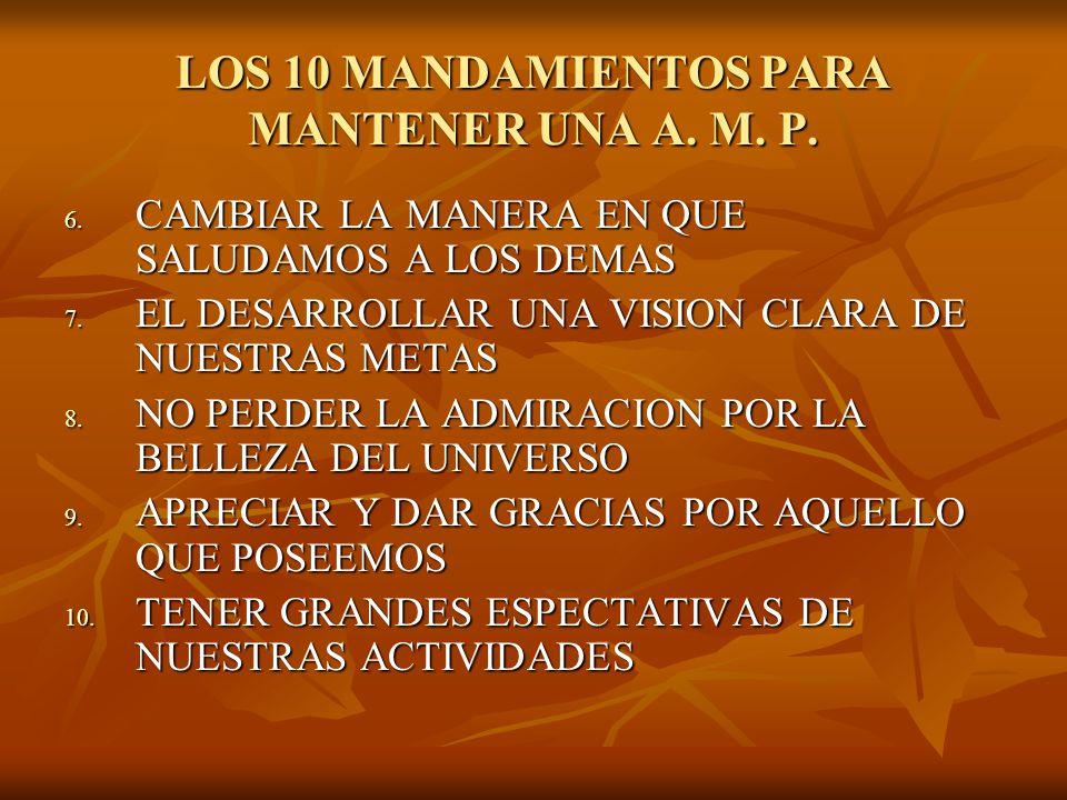LOS 10 MANDAMIENTOS PARA MANTENER UNA A. M. P.
