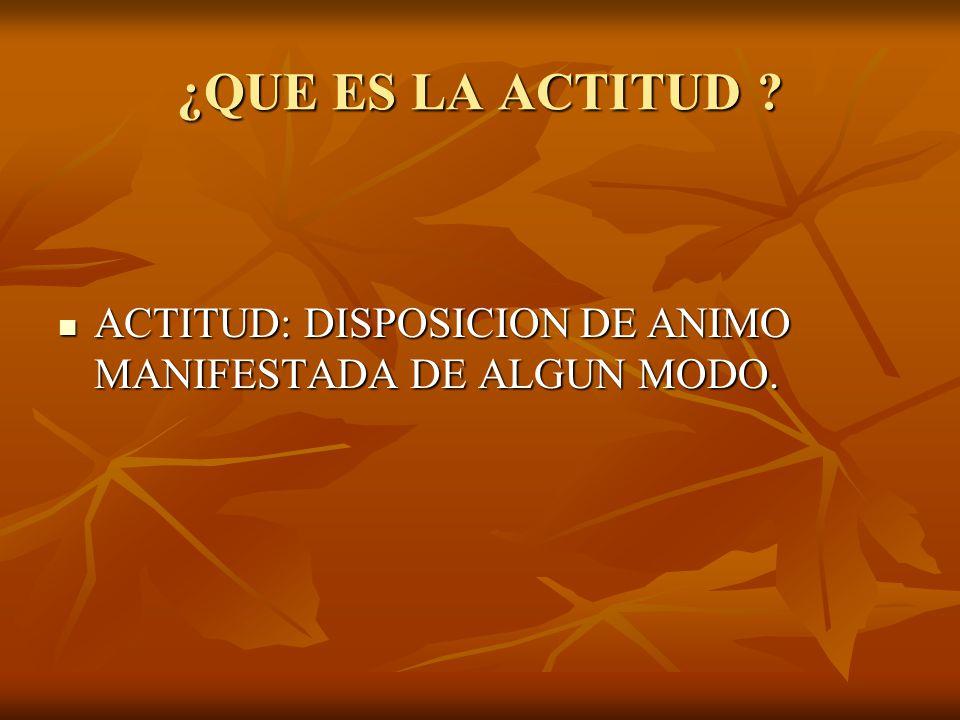 ¿QUE ES LA ACTITUD ACTITUD: DISPOSICION DE ANIMO MANIFESTADA DE ALGUN MODO.