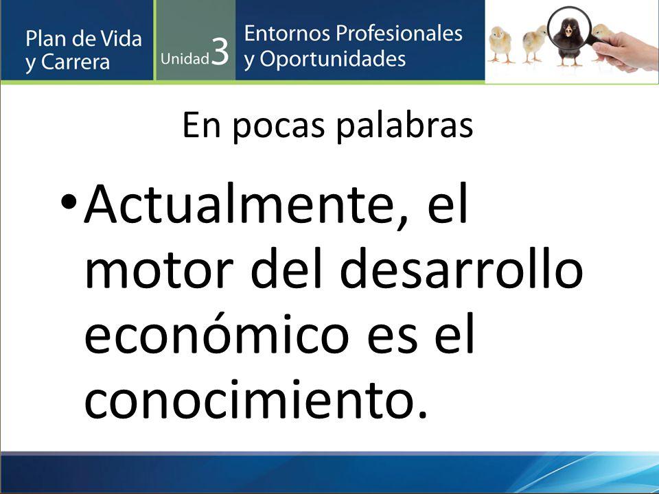 Actualmente, el motor del desarrollo económico es el conocimiento.