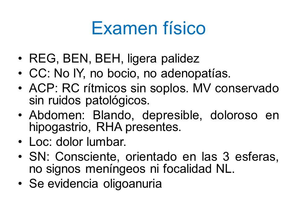 Examen físico REG, BEN, BEH, ligera palidez