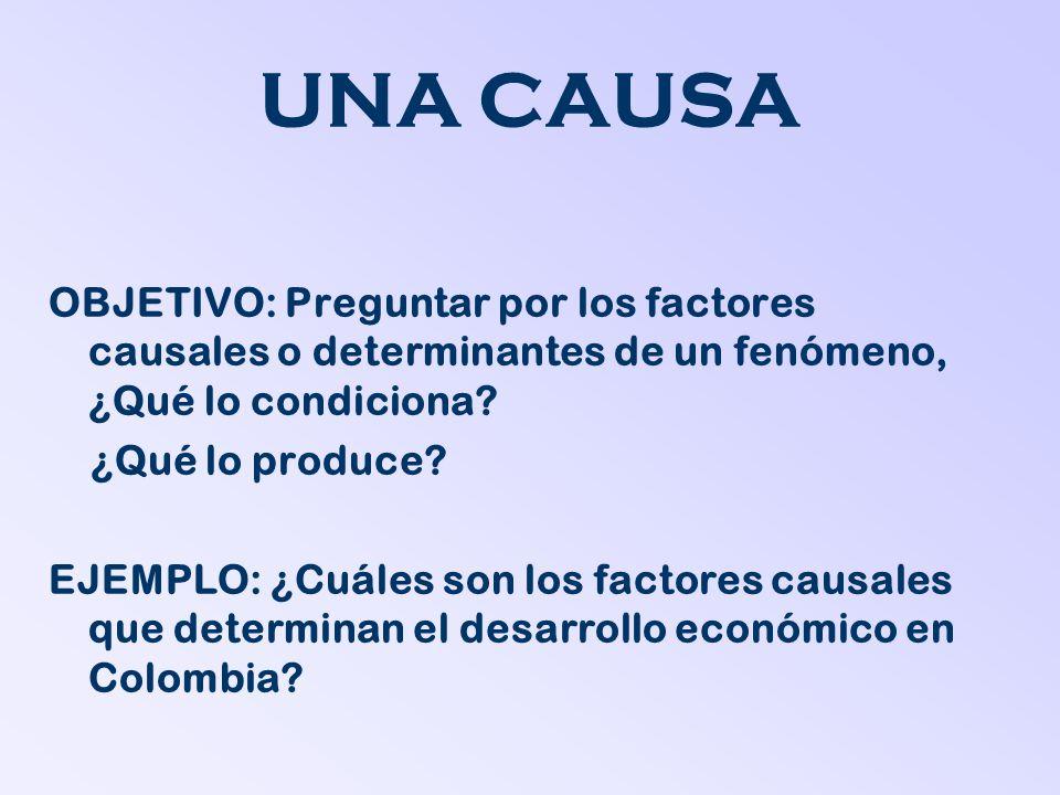 UNA CAUSA OBJETIVO: Preguntar por los factores causales o determinantes de un fenómeno, ¿Qué lo condiciona