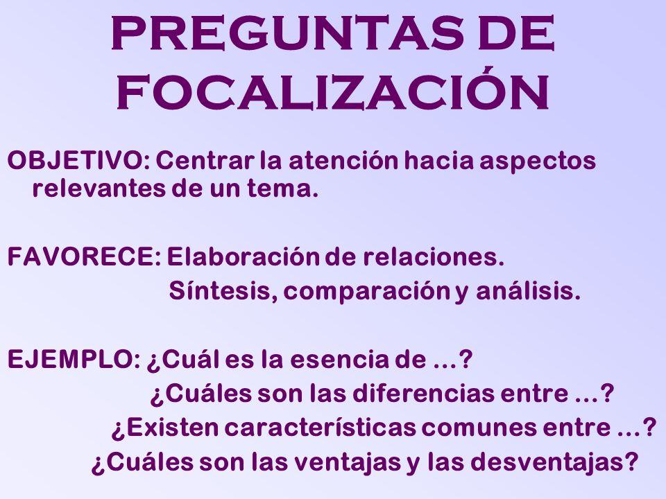 PREGUNTAS DE FOCALIZACIÓN