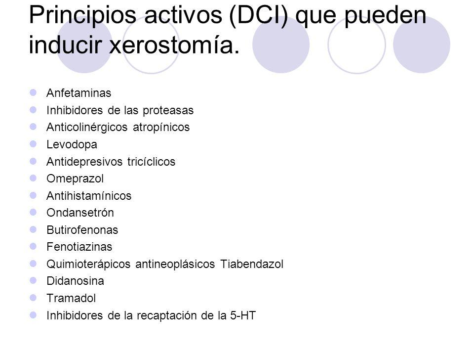 Principios activos (DCI) que pueden inducir xerostomía.