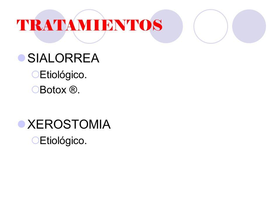 TRATAMIENTOS SIALORREA Etiológico. Botox ®. XEROSTOMIA
