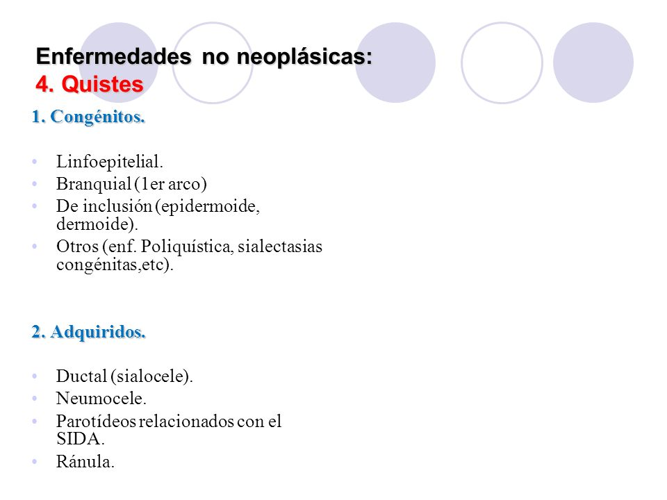 Enfermedades no neoplásicas: 4. Quistes