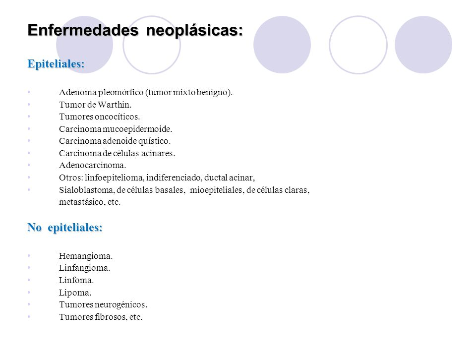 Enfermedades neoplásicas: