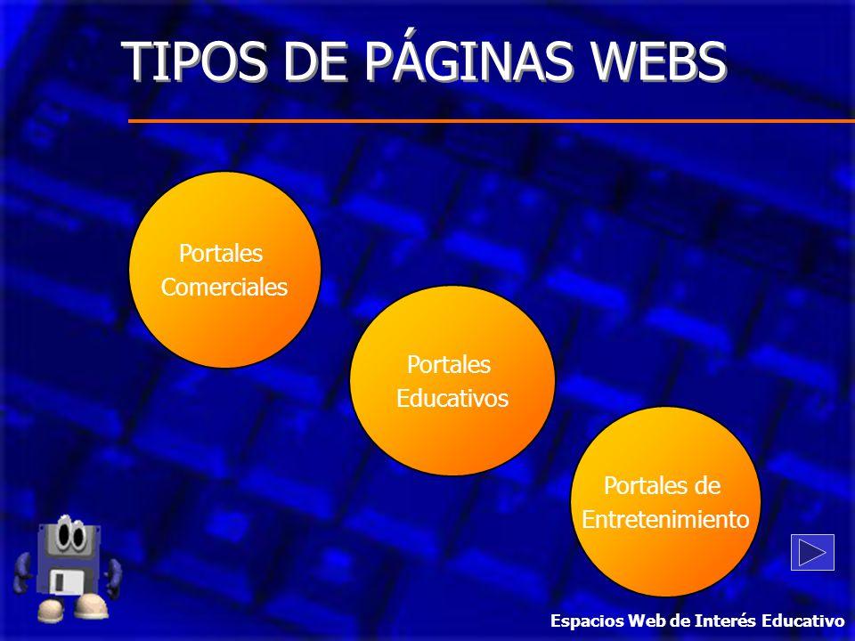 TIPOS DE PÁGINAS WEBS Portales Comerciales Portales Educativos