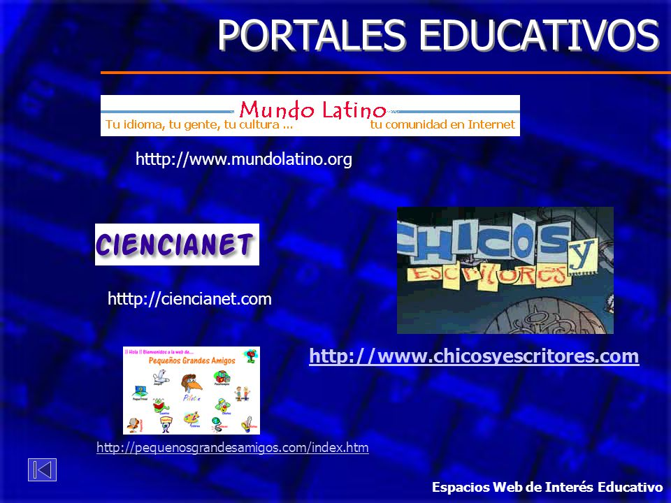 PORTALES EDUCATIVOS http://www.chicosyescritores.com