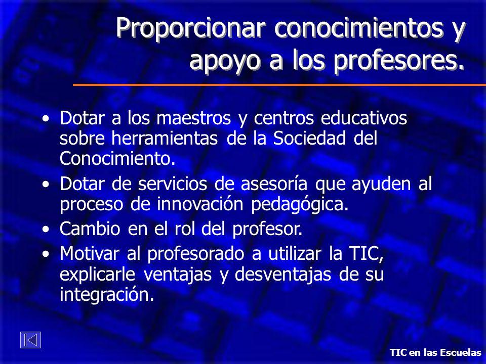 Proporcionar conocimientos y apoyo a los profesores.