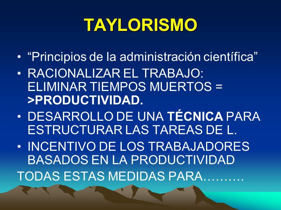 TAYLORISMO Principios de la administración científica