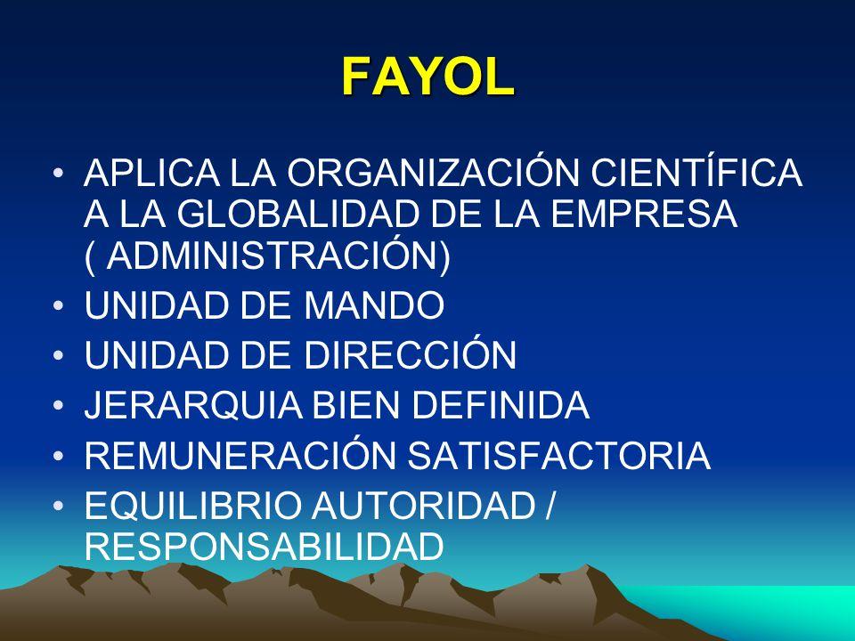 FAYOL APLICA LA ORGANIZACIÓN CIENTÍFICA A LA GLOBALIDAD DE LA EMPRESA ( ADMINISTRACIÓN) UNIDAD DE MANDO.