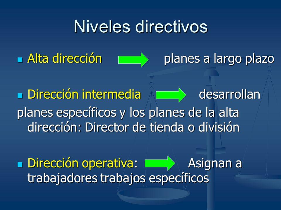 Niveles directivos Alta dirección planes a largo plazo