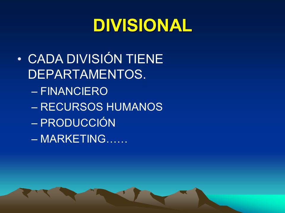 DIVISIONAL CADA DIVISIÓN TIENE DEPARTAMENTOS. FINANCIERO