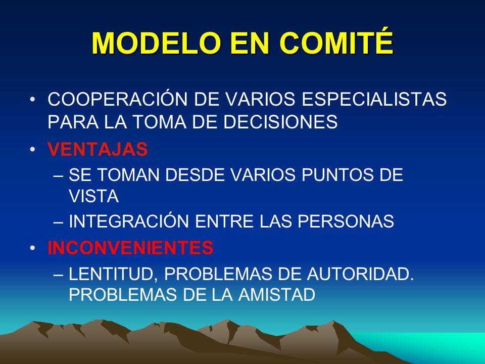 MODELO EN COMITÉ COOPERACIÓN DE VARIOS ESPECIALISTAS PARA LA TOMA DE DECISIONES. VENTAJAS. SE TOMAN DESDE VARIOS PUNTOS DE VISTA.