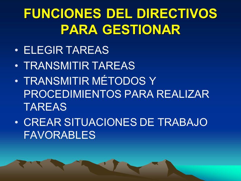 FUNCIONES DEL DIRECTIVOS PARA GESTIONAR