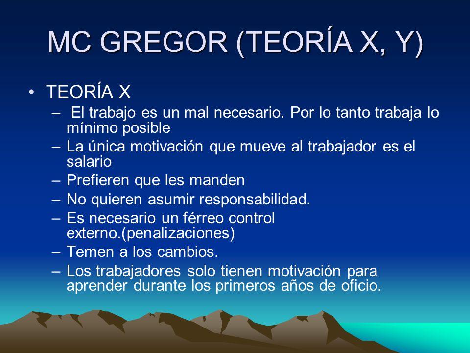 MC GREGOR (TEORÍA X, Y) TEORÍA X