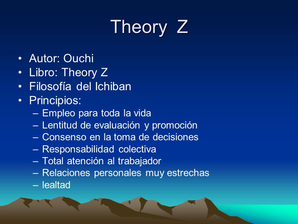 Theory Z Autor: Ouchi Libro: Theory Z Filosofía del Ichiban