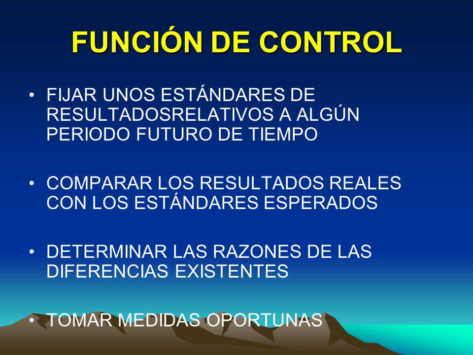 FUNCIÓN DE CONTROL FIJAR UNOS ESTÁNDARES DE RESULTADOSRELATIVOS A ALGÚN PERIODO FUTURO DE TIEMPO.