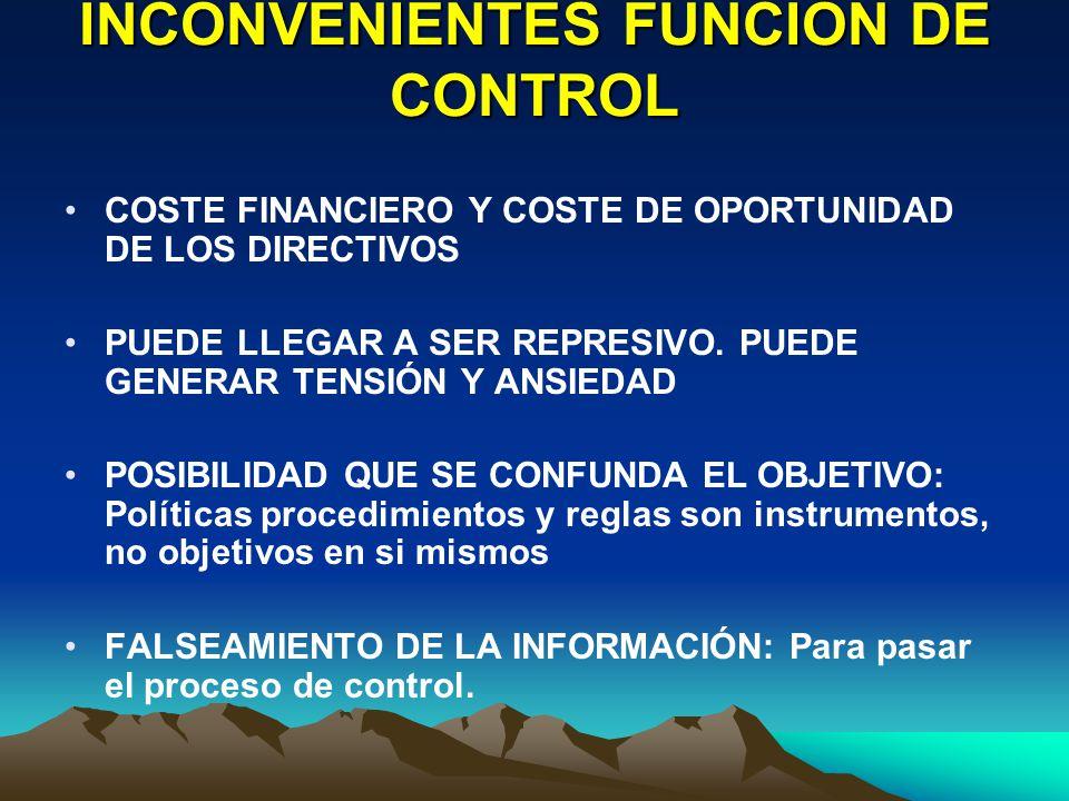 INCONVENIENTES FUNCIÓN DE CONTROL
