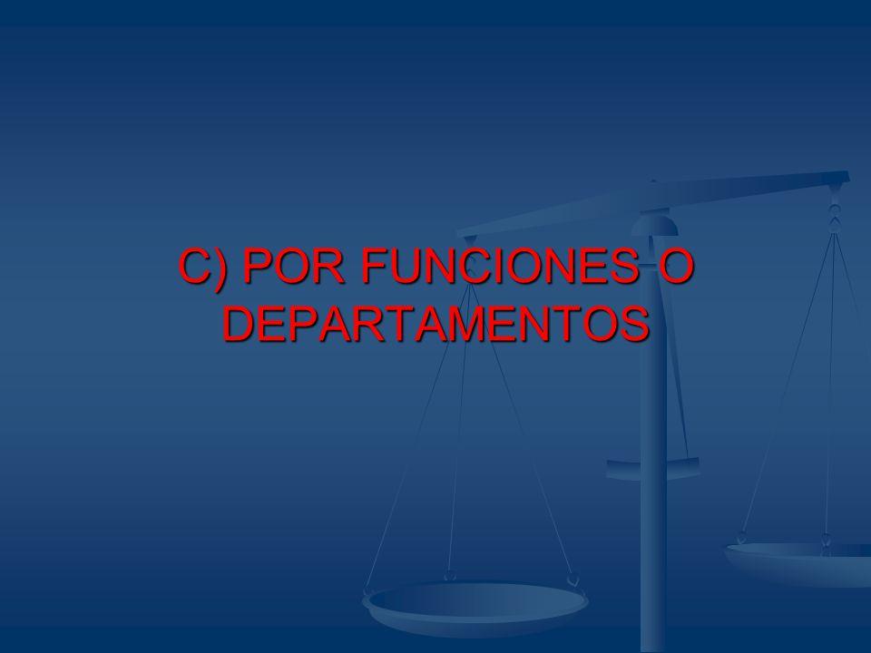C) POR FUNCIONES O DEPARTAMENTOS