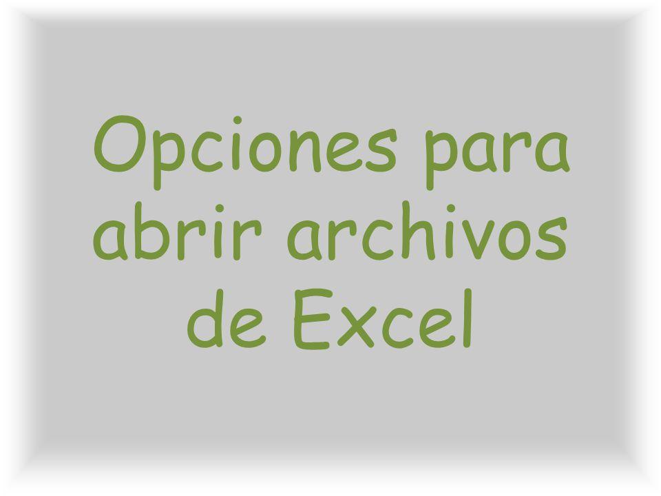 Opciones para abrir archivos de Excel