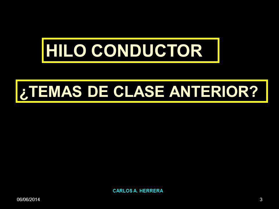 HILO CONDUCTOR ¿TEMAS DE CLASE ANTERIOR CARLOS A. HERRERA 01/04/2017