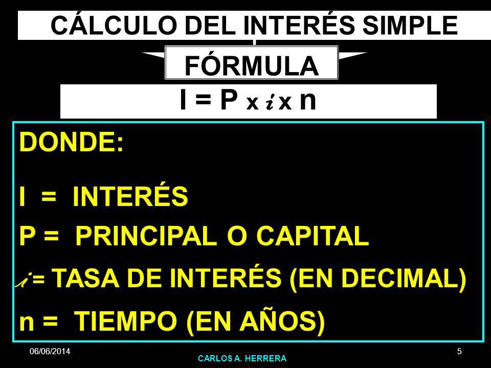 CÁLCULO DEL INTERÉS SIMPLE