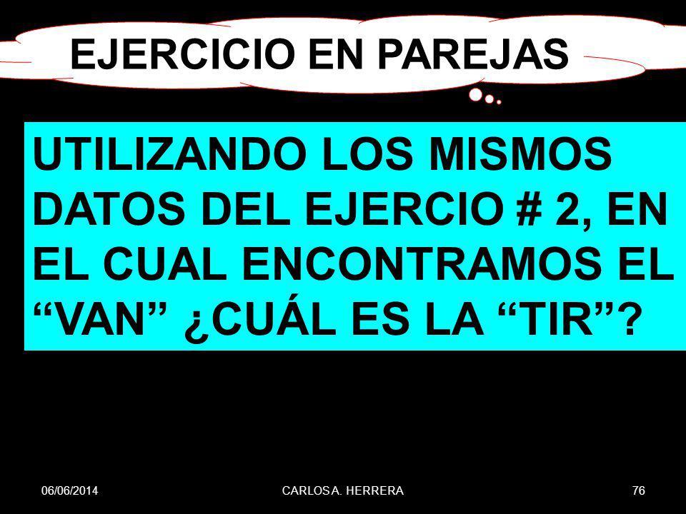 EJERCICIO EN PAREJAS UTILIZANDO LOS MISMOS DATOS DEL EJERCIO # 2, EN EL CUAL ENCONTRAMOS EL VAN ¿CUÁL ES LA TIR