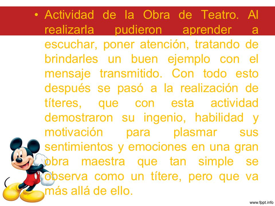 Actividad de la Obra de Teatro