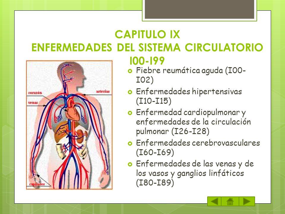 CAPITULO IX ENFERMEDADES DEL SISTEMA CIRCULATORIO I00-I99