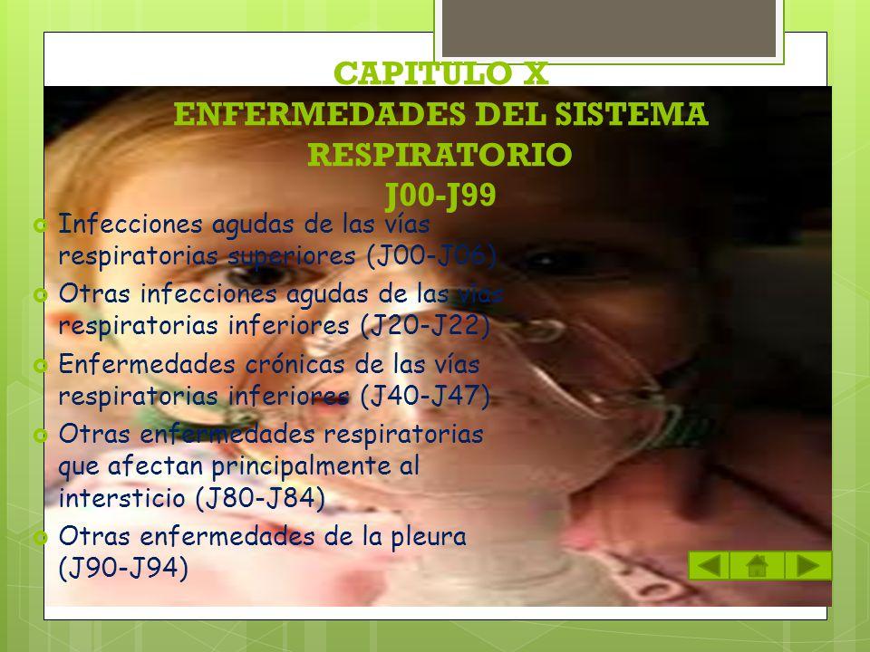 CAPITULO X ENFERMEDADES DEL SISTEMA RESPIRATORIO J00-J99