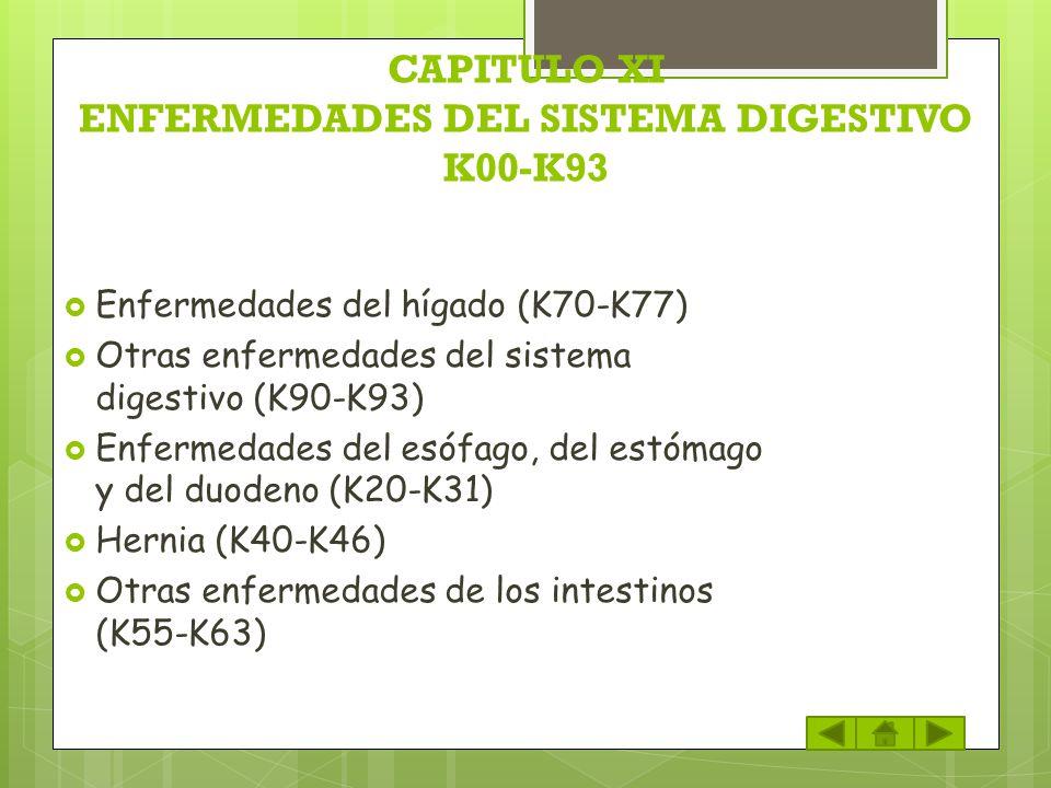 CAPITULO XI ENFERMEDADES DEL SISTEMA DIGESTIVO K00-K93