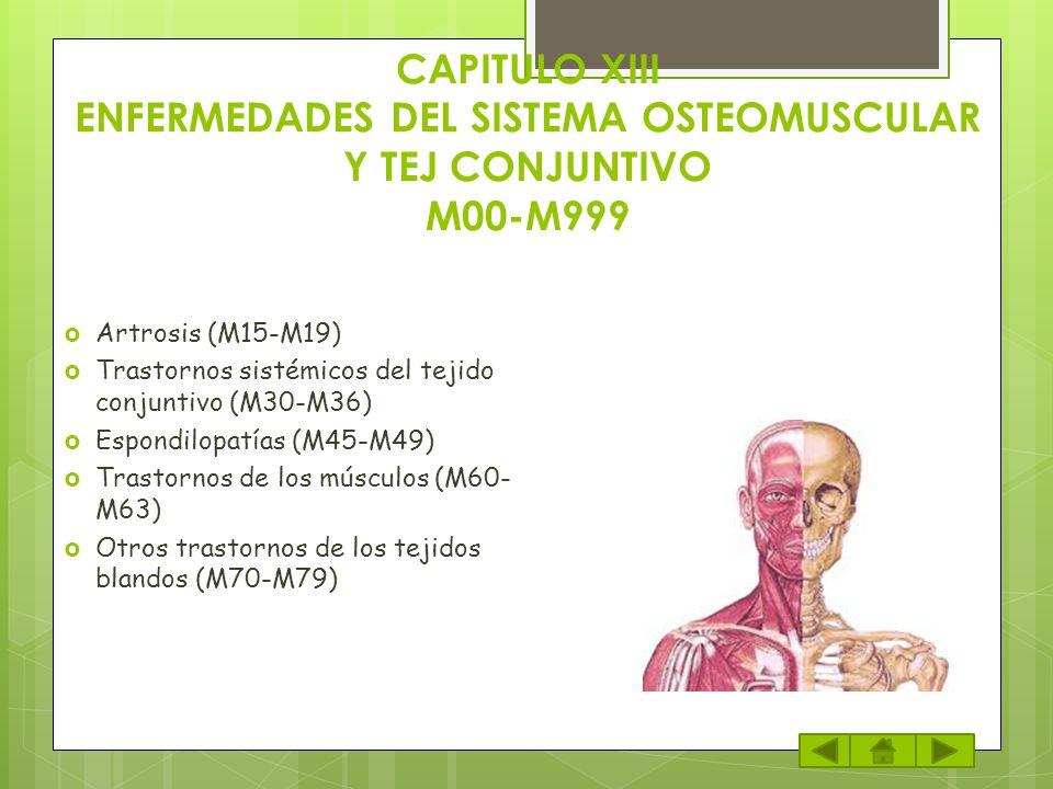 CAPITULO XIII ENFERMEDADES DEL SISTEMA OSTEOMUSCULAR Y TEJ CONJUNTIVO M00-M999
